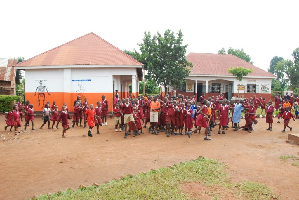 Children playing at the school